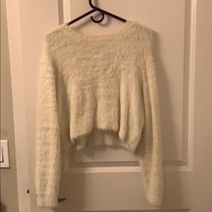 Kendall & Kylie Cream Fuzzy Sweater